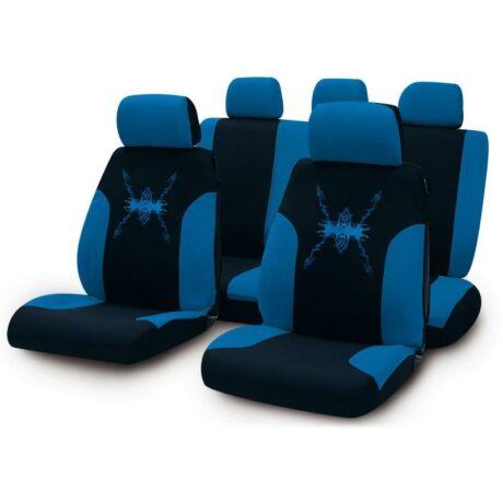 Fekete - kék absztrakt mintás, mosható üléshuzat, ami az egész autódat feldobja. 9 részes szett, a fejtámlákra is tartalmaz huzatot. Zipzáros megoldásának köszönhetően akár osztott hátsó ülésekkel is használható.