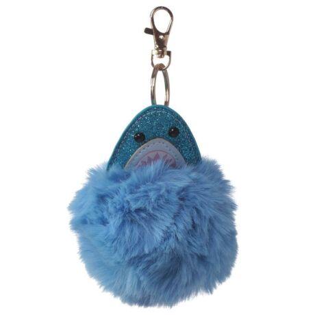 Cápa alakú pompom kulcstartó kék