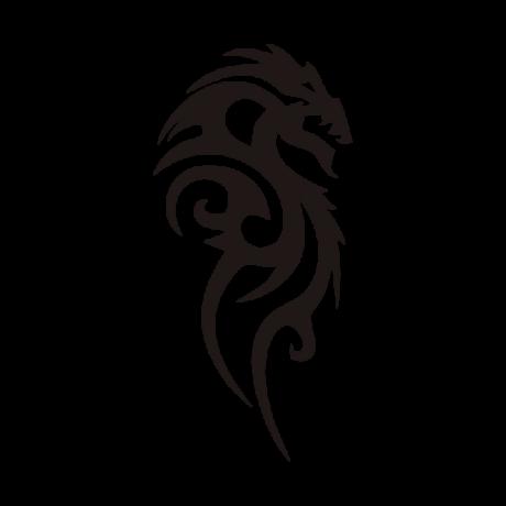 Jobbra néző sárkány autó matrica fekete #256
