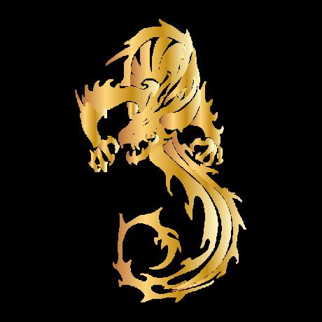 S alakú sárkány autó matrica arany #264