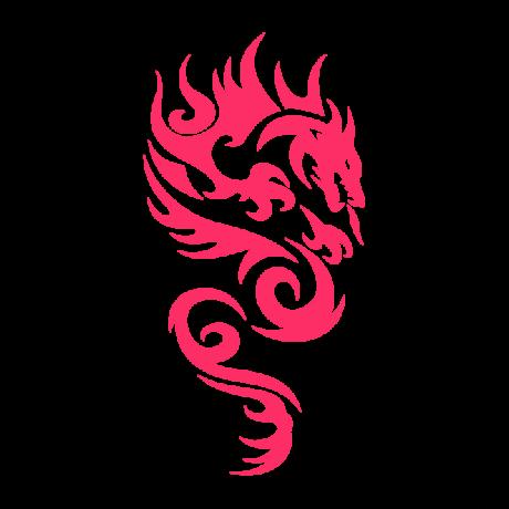 Tűzokádó sárkány autó matrica pink #277