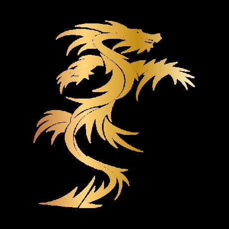 Kétszárnyú sárkány autó matrica arany #283