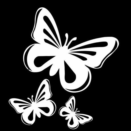 Pillangó matrica, 3db, fehér