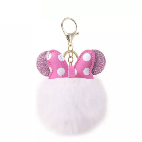 Minnie egér alakú pompom kulcstartó fehér