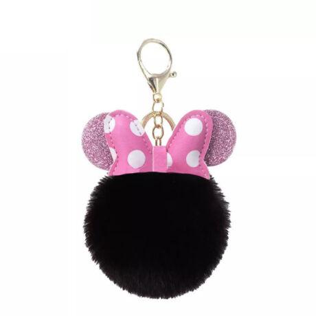 Minnie egér alakú pompom kulcstartó fekete