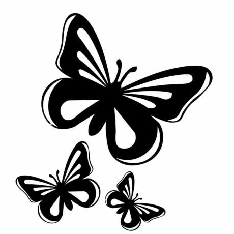 Pillangó matrica, 3db, fekete