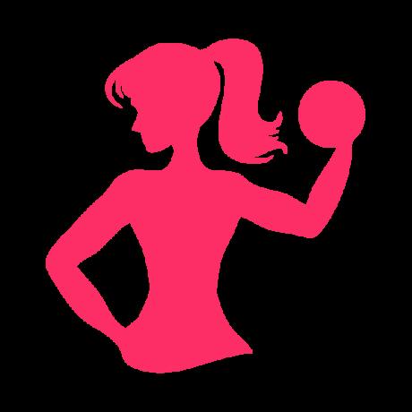 Súlyzós női sziluette autó matrica, pink