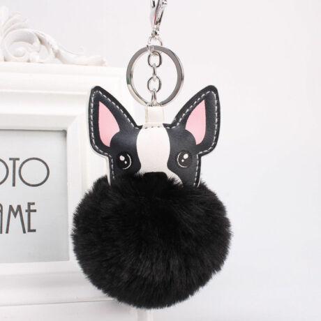 Francia bulldog alakú pompom kulcstartó fekete