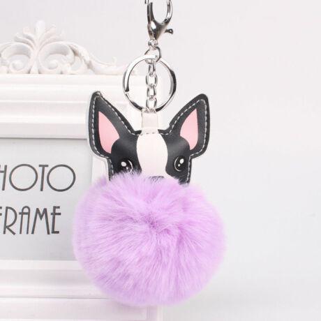 Francia bulldog alakú pompom kulcstartó lila