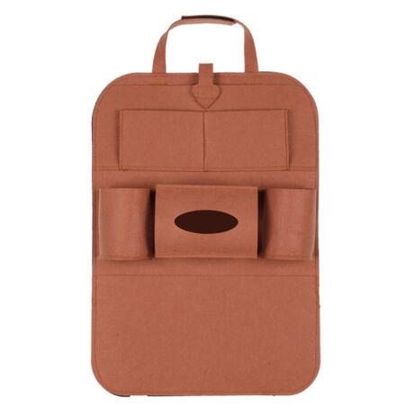 Autóülés háttámla védő tároló zsebekkel barna