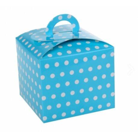 Kék színű pöttyös ajándék doboz 10*10 cm