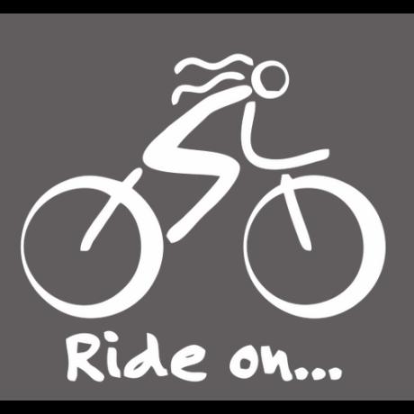 Ride on feliratos, női kerékpáros autó matrica, fehér