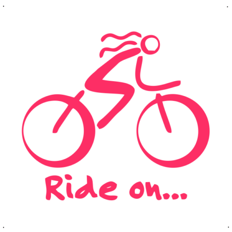 Ride on feliratos, női kerékpáros autó matrica, pink