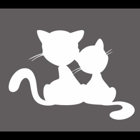 Két macska sziluett autó matrica, fehér