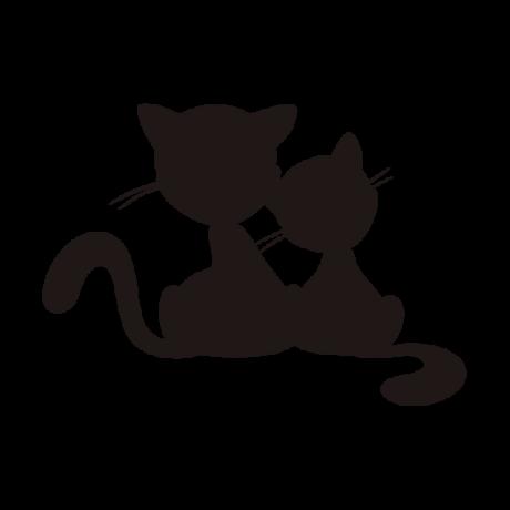 Két macska sziluett autó matrica, fekete