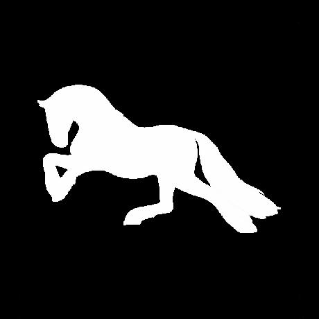 Balra futó ló autó matrica fehér #336