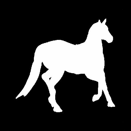 Jobbra néző ló autó matrica fehér #341