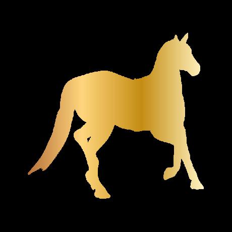Jobbra néző ló autó matrica arany #343