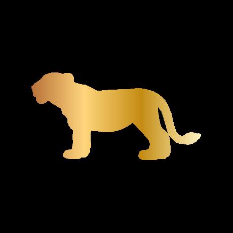Kölyök oroszlán autó matrica arany #353