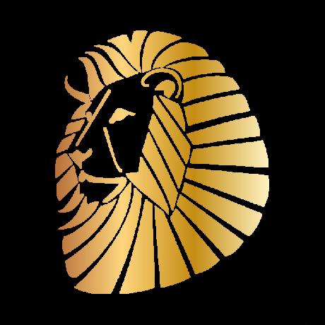 Oroszlán fej autó matrica arany #358
