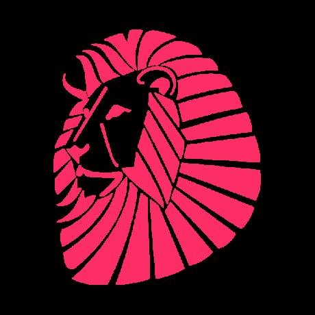 Oroszlán fej autó matrica pink #357