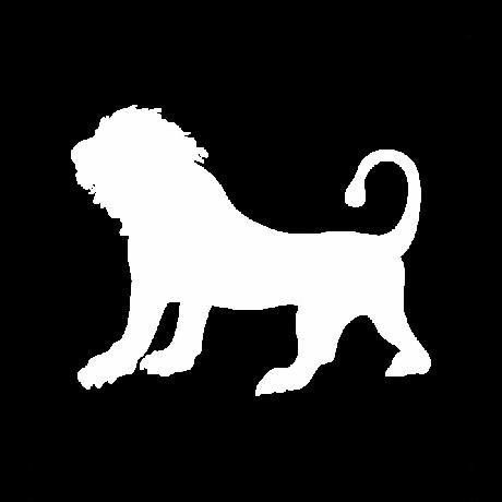 Álló oroszlán autó matrica fehér #366