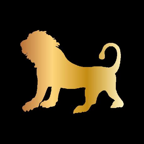 Álló oroszlán autó matrica arany #368