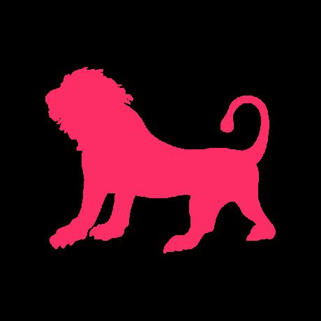 Álló oroszlán autó matrica pink #367