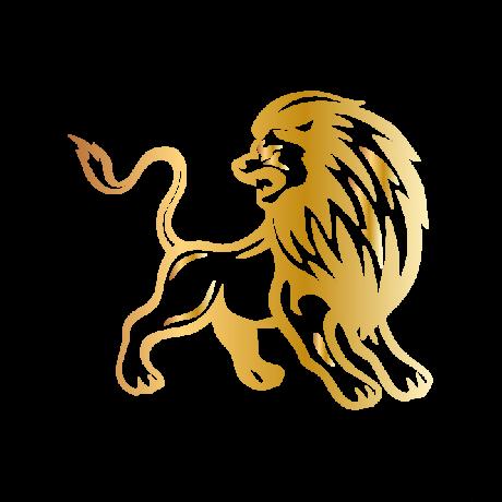 Hátraforduló oroszlán autó matrica arany #373
