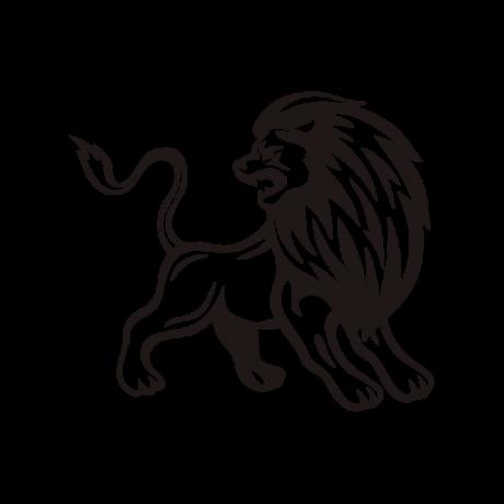 Hátraforduló oroszlán autó matrica fekete #370