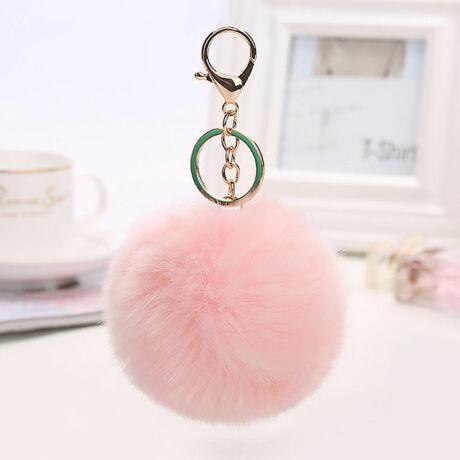 Pompom kulcstartóra, táskára akasztható szőrme dísz világos rózsaszín