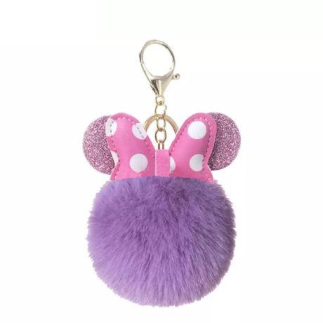 Minnie egér alakú pompom kulcstartó lila