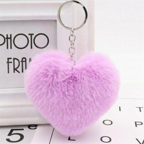 Pompom kulcstartóra, táskára akasztható szív alakú szőrme dísz lila