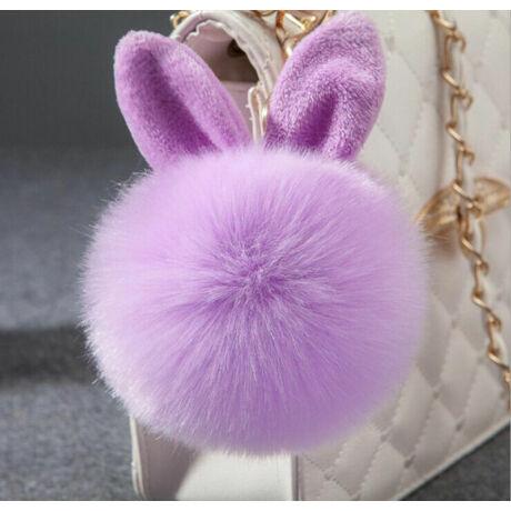 Pompom kulcstartóra, táskára akasztható nyuszi füles szőrme dísz lila