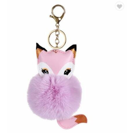 Szőrmés, róka alakú pompom kulcstartó lila-rózsaszín