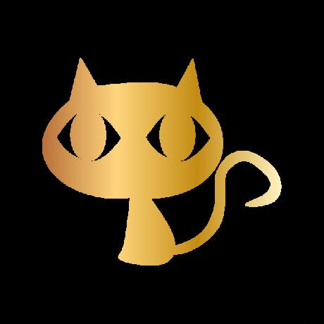 Nagyfejű macska autó matrica arany #408