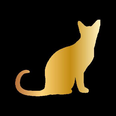 Ülő macska autó matrica arany #418