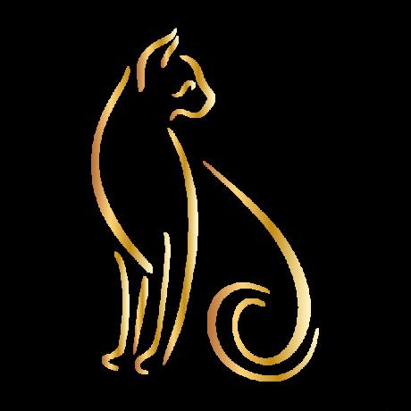 Hátrafelé néző macska autó matrica arany #423