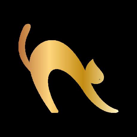 Görbe macska autó matrica arany #473