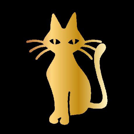 Hoszzú bajszú macska autó matrica arany #478