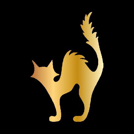 Borzas macska autó matrica arany  #483
