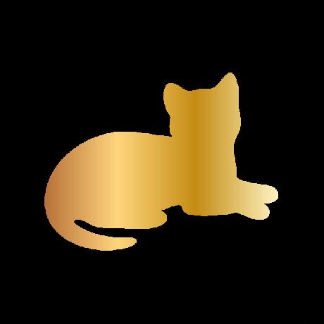 Fekvő macska autó matrica arany #493