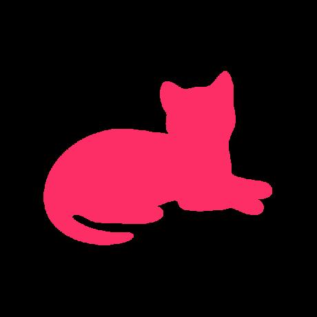 Fekvő macska autó matrica pink #492