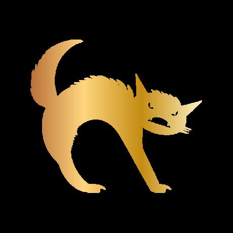 Mérges macska autó matrica arany #513