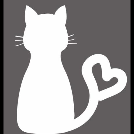 Ülő macska, szív alakú sziluett, fehér