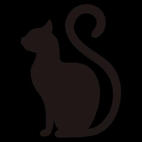 Ülő macska oldal sziluett, fekete