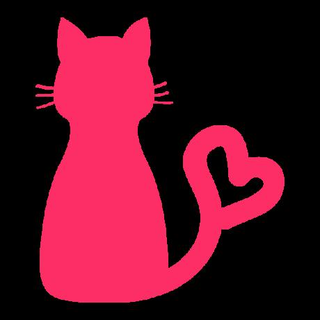 Ülő macska, szív alakú sziluett, pink