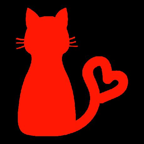 Ülő macska, szív alakú sziluett, piros