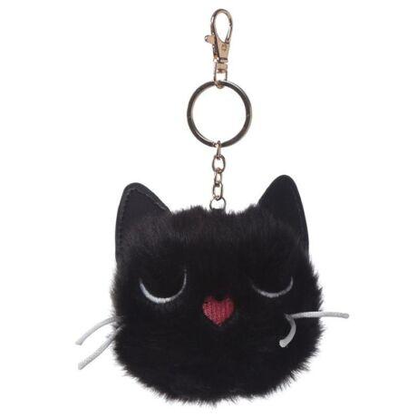 Feline Fine macska alakú pompom kulcstartó