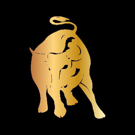 Egész alakos Bika autó matrica arany #139